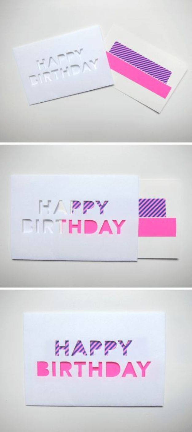 DIY Birthday Cards - DIY Washi Tape Aperture Greeting Card - Easy and Cheap Handmade Birthday Cards To Make At Home - Cute Card Projects With Step by Step Tutorials are Perfect for Birthdays for Mom, Dad, Kids and Adults - Pop Up and Folded Cards, Creative Gift Card Holders and Fun Ideas With Cake http://diyjoy.com/diy-birthday-cards