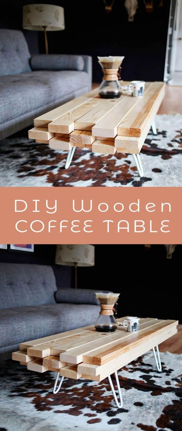 DIY Coffee Tables - DIY Wooden Coffee Table - Easy Do It Yourself Furniture Ideas for The Living Room Table - Cool Projects for Making a Coffee Table With Crates, Boxes, Stone, Industrial Pipe, Tile, Pallets, Old Doors, Windows and Repurposed Wood Planks - Rustic Farmhouse Home Decor, Modern Decorating Ideas, Simply Shabby Chic and All White Looks for Minimalist Interiors http://diyjoy.com/diy-coffee-table-ideas