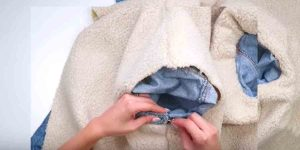 Watch How She Adds Sherpa To Her Denim Jacket Making It Warm And Cozy!