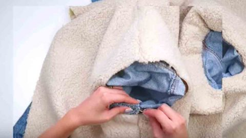 Watch How She Adds Sherpa To Her Denim Jacket Making It Warm And Cozy! | DIY Joy Projects and Crafts Ideas