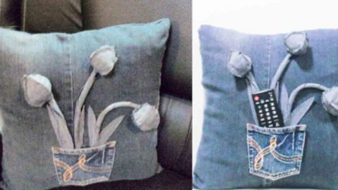 She Recycles Old Jeans By Making These Super Cute Pillows. Learn How! | DIY Joy Projects and Crafts Ideas
