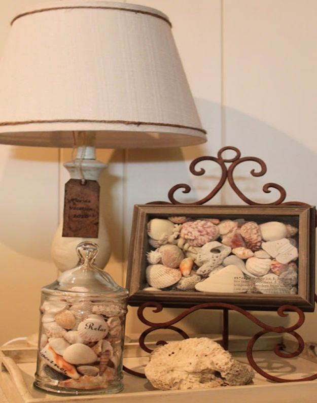 DIY Beach House Decor - Displaying Vacation Shells - Cool DIY Decor Ideas While On A Budget - Cool Ideas for Decorating Your Beach Home With Shells, Sand and Summer Wall Art - Crafts and Do It Yourself Projects With A Breezy, Blue, Summery Feel - White Decor and Shiplap, Birchwood Boats, Beachy Sea Glass Art Projects for Living Room, Bedroom and Kitchen