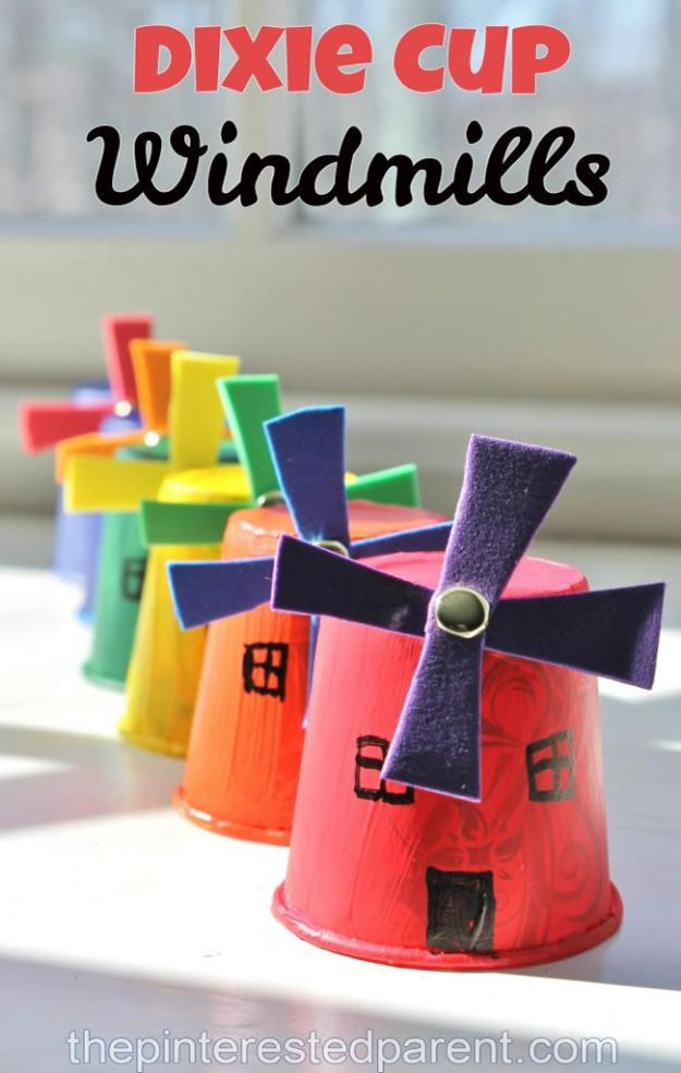 Crafts for Girls - Dixie Cup Windmill Craft - Cute Crafts for Young Girls, Toddlers and School Children - Fun Paints to Make, Arts and Craft Ideas, Wall Art Projects, Colorful Alphabet and Glue Crafts, String Art, Painting Lessons, Cheap Project Tutorials and Inexpensive Things for Kids to Make at Home - Cute Room Decor and DIY Gifts #girlsgifts #girlscrafts #craftideas #girls