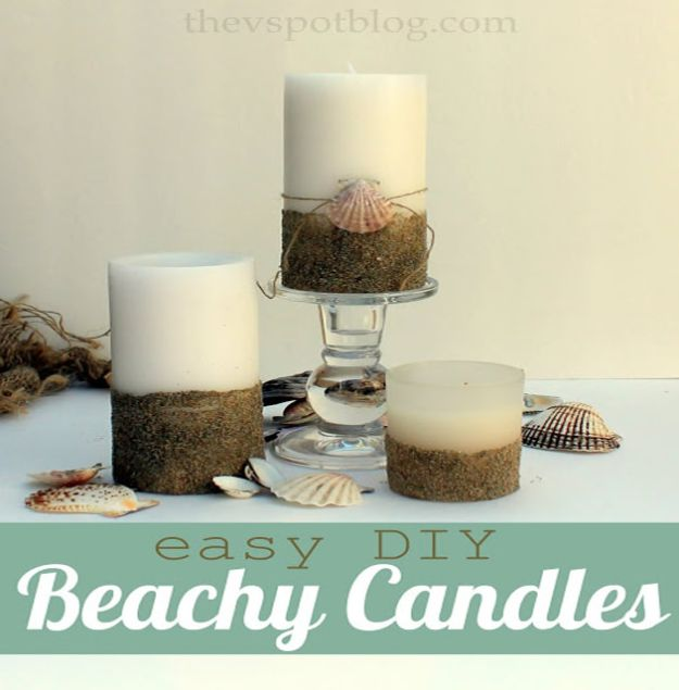 DIY Beach House Decor - Easy DIY Beachy Candles - Cool DIY Decor Ideas While On A Budget - Cool Ideas for Decorating Your Beach Home With Shells, Sand and Summer Wall Art - Crafts and Do It Yourself Projects With A Breezy, Blue, Summery Feel - White Decor and Shiplap, Birchwood Boats, Beachy Sea Glass Art Projects for Living Room, Bedroom and Kitchen
