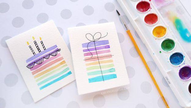 DIY Birthday Cards - Easy DIY Birthday Card Using Minimal Supplies - Easy and Cheap Handmade Birthday Cards To Make At Home - Cute Card Projects With Step by Step Tutorials are Perfect for Birthdays for Mom, Dad, Kids and Adults - Pop Up and Folded Cards, Creative Gift Card Holders and Fun Ideas With Cake http://diyjoy.com/diy-birthday-cards