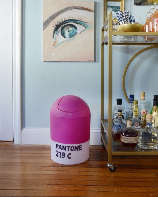 DIY Trash Cans - Easy DIY Pantone Trash Can - Easy Do It Yourself Projects to Make Cute, Decorative Trash Cans for Bathroom, Kitchen and Bedroom - Trash Can Makeover, Hidden Kitchen Storage With Pull Out Cabinet - Lids, Liners and Painted Decor Ideas for Updating the Bin #diykitchen #diybath #trashcans #diy #diyideas #diyjoy http://diyjoy.com/diy-trash-cans