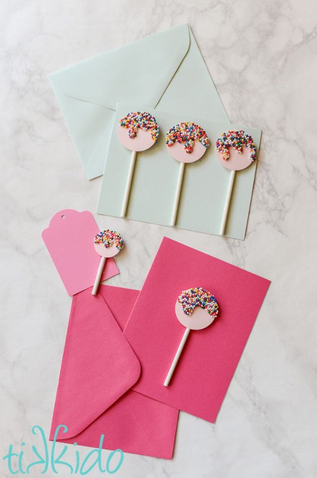 DIY Birthday Cards - Easy Sprinkles Lollipop Card - Easy and Cheap Handmade Birthday Cards To Make At Home - Cute Card Projects With Step by Step Tutorials are Perfect for Birthdays for Mom, Dad, Kids and Adults - Pop Up and Folded Cards, Creative Gift Card Holders and Fun Ideas With Cake #birthdayideas #birthdaycards