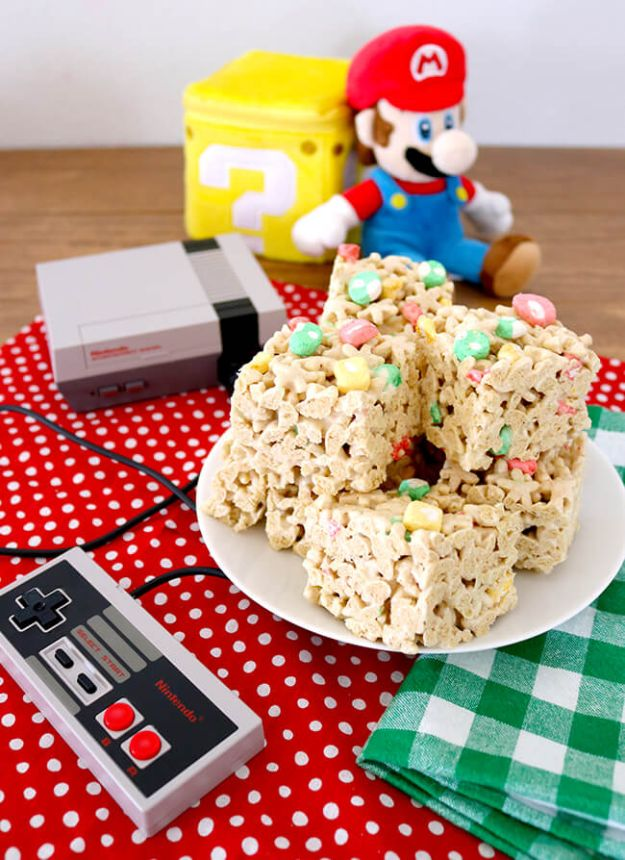 Best Recipes To Teach Your Kids To Cook - Easy Super Mario Cereal Bars - Easy Ideas To Show Children How to Prepare Food - Kid Friendly Recipes That Boys and Girls Can Make Themselves - No Bake, 5 Minute Foods, Healthy Snacks, Salads, Dips, Roll Ups, Vegetables and Simple Desserts - Recipes To Learn How To Make Fun Food http://diyjoy.com/best-recipes-teach-kids-to-cook