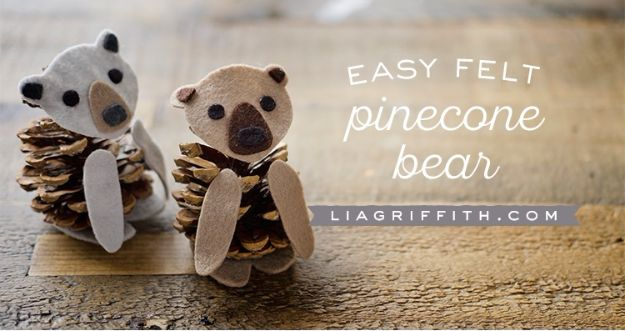Crafts for Girls - Felt Pinecone Bears - Cute Crafts for Young Girls, Toddlers and School Children - Fun Paints to Make, Arts and Craft Ideas, Wall Art Projects, Colorful Alphabet and Glue Crafts, String Art, Painting Lessons, Cheap Project Tutorials and Inexpensive Things for Kids to Make at Home - Cute Room Decor and DIY Gifts #girlsgifts #girlscrafts #craftideas #girls
