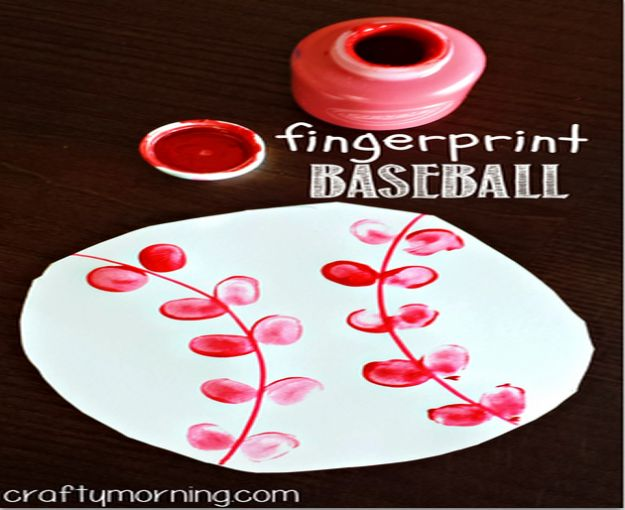 Crafts for Boys - Fingerprint Baseball Craft - Cute Crafts for Young Boys, Toddlers and School Children - Fun Paints to Make, Arts and Craft Ideas, Wall Art Projects, Colorful Alphabet and Glue Crafts, String Art, Painting Lessons, Cheap Project Tutorials and Inexpensive Things for Kids to Make at Home - Cute Room Decor and DIY Gifts to Make for Mom and Dad #diyideas #kidscrafts #craftsforboys