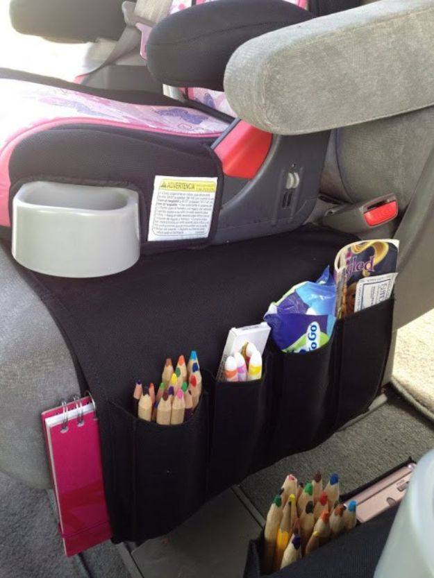 Car Organization Ideas - Flort Turned Into Car Organizer For Kids - DIY Tips and Tricks for Organizing Cars - Dollar Store Storage Projects for Mom, Kids and Teens - Keep Your Car, Truck or SUV Clean On A Road Trip With These solutions for interiors and Trunk, Front Seat - Do It Yourself Caddy and Easy, Cool Lifehacks http://diyjoy.com/car-organizing-ideas