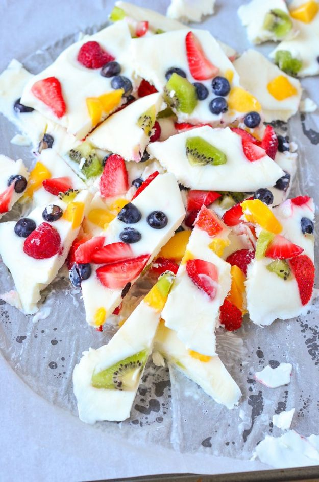 Best Summer Snacks and Snack Recipes - Frozen Yogurt Fruit Bark - Quick And Easy Snack Ideas for After Workout, School, Work - Mid Day Treats, Best Small Desserts, Simple and Fast Things To Make In Minutes - Healthy Snacking Foods Made With Vegetables, Cheese, Yogurt, Fruit and Gluten Free Options - Kids Love Making These Sweets, Popsicles, Drinks, Smoothies and Fun Foods - Refreshing and Cool Options for Eating Otuside on a Hot Day http://diyjoy.com/best-summer-snacks