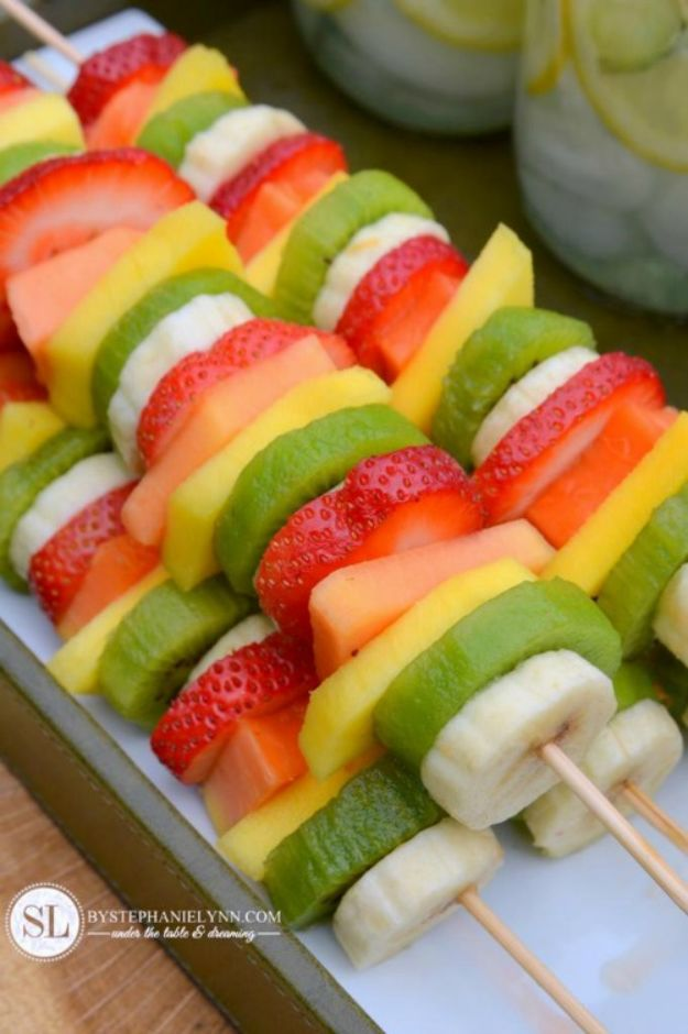 Best Summer Snacks and Snack Recipes - Fruit Kabobs - Quick And Easy Snack Ideas for After Workout, School, Work - Mid Day Treats, Best Small Desserts, Simple and Fast Things To Make In Minutes - Healthy Snacking Foods Made With Vegetables, Cheese, Yogurt, Fruit and Gluten Free Options - Kids Love Making These Sweets, Popsicles, Drinks, Smoothies and Fun Foods - Refreshing and Cool Options for Eating Otuside on a Hot Day   #summer #snacks #snackrecipes #appetizers