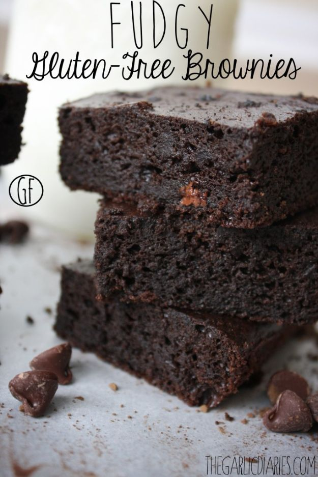 Gluten Free Desserts - Fudgy Gluten Free Brownies - Easy Recipes and Healthy Recipe Ideas for Cookies, Cake, Pie, Cupcakes, Cheesecake and Ice Cream - Best No Sugar Glutenfree Chocolate, No Bake Dessert, Fruit, Peach, Apple and Banana Dishes - Flourless Christmas, Thanksgiving and Holiday Dishes #glutenfree #desserts #recipes