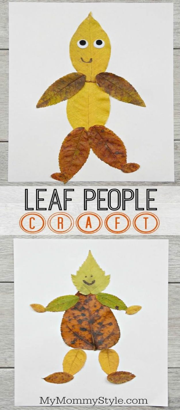 Crafts for Boys - Fun And Easy Leaf People Craft - Cute Crafts for Young Boys, Toddlers and School Children - Fun Paints to Make, Arts and Craft Ideas, Wall Art Projects, Colorful Alphabet and Glue Crafts, String Art, Painting Lessons, Cheap Project Tutorials and Inexpensive Things for Kids to Make at Home - Cute Room Decor and DIY Gifts to Make for Mom and Dad #diyideas #kidscrafts #craftsforboys