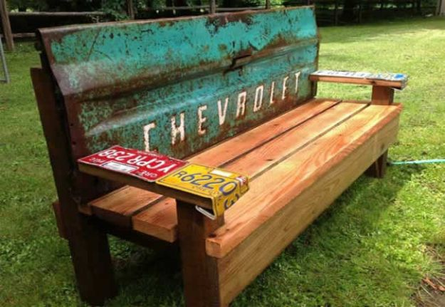 DIY Patio Furniture Ideas - Garden Bench With An Old Tailgate - Cheap Do It Yourself Porch and Easy Backyard Furniture, Rocking Chairs, Swings, Benches, Stools and Seating Tutorials - Dining Tables from Pallets, Cinder Blocks and Upcyle Ideas - Sectional Couch Plans With Cushions - Makeover Tips for Existing Furniture #diyideas #outdoors #diy #backyardideas #diyfurniture #patio #diyjoy http://diyjoy.com/diy-patio-furniture-ideas