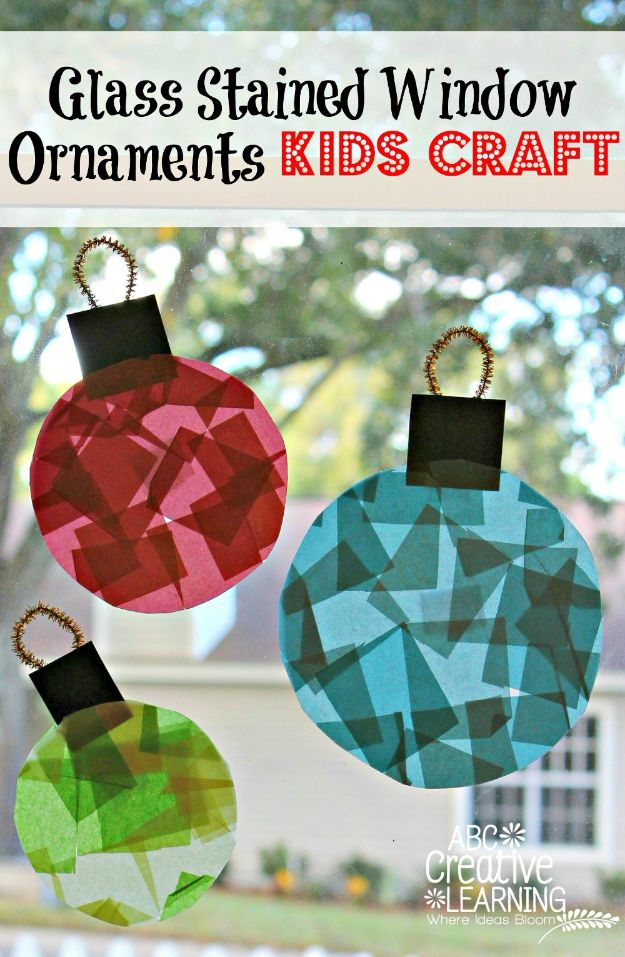 Crafts for Boys - Glass Stained Window Ornaments Crafts - Cute Crafts for Young Boys, Toddlers and School Children - Fun Paints to Make, Arts and Craft Ideas, Wall Art Projects, Colorful Alphabet and Glue Crafts, String Art, Painting Lessons, Cheap Project Tutorials and Inexpensive Things for Kids to Make at Home - Cute Room Decor and DIY Gifts to Make for Mom and Dad #diyideas #kidscrafts #craftsforboys