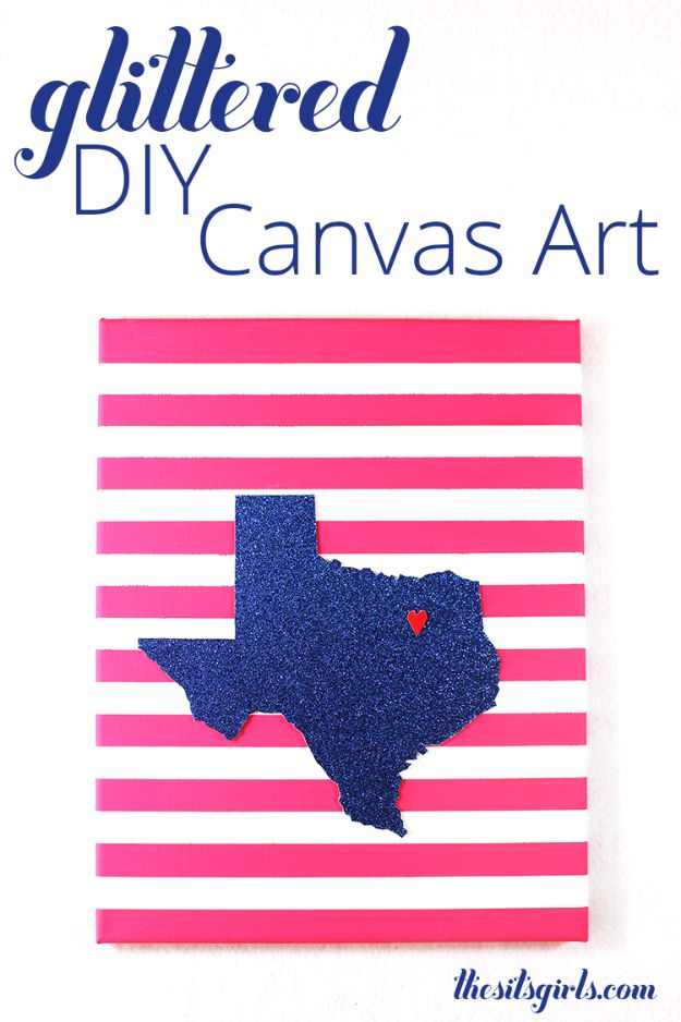 DIY Ideas For Everyone Who Loves Texas - Glitter DIY Canvas Art - Cute Lone Star State Crafts In The Shape of Texas - Best Texan Quotes, Sayings and Signs for Your Porch and Home - Easy Texas Themed Decorating Ideas - Country Crafts, Rustic Home Decor, String Art and Map Projects Shaped Like Texas - Decor for Living Room, Bedroom, Bathroom, Kitchen and Yard http://diyjoy.com/diy-ideas-Texas
