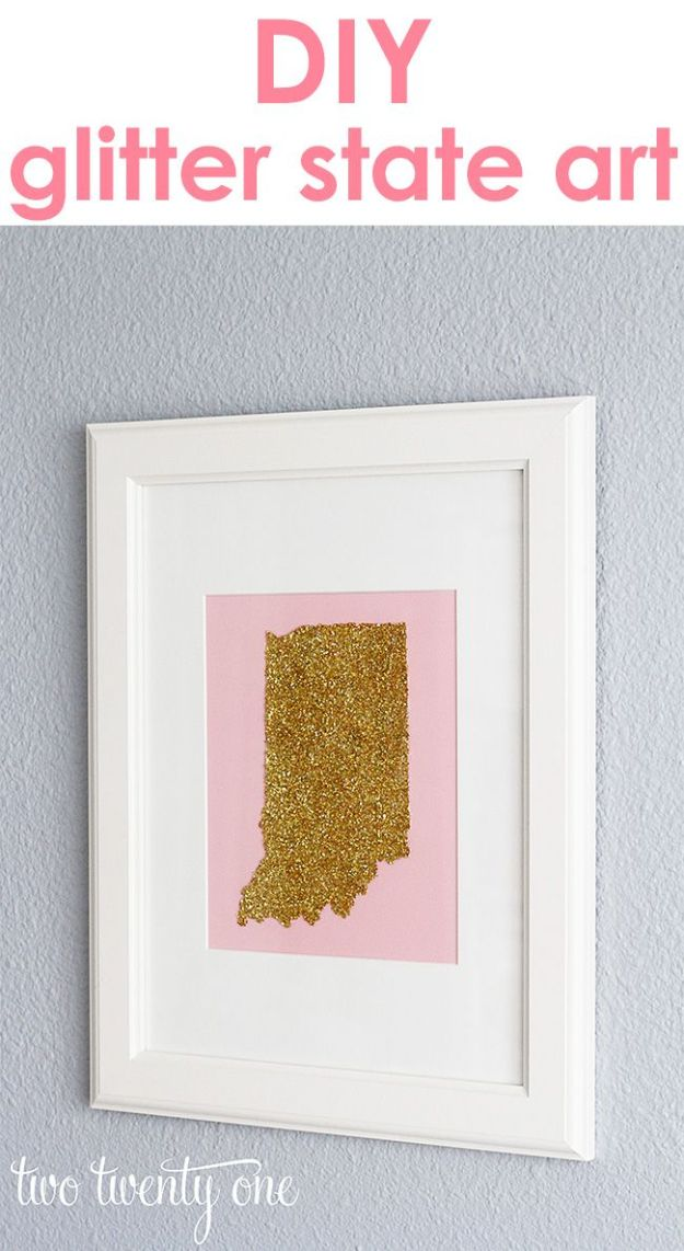 Cool State Crafts - Glitter State Art DIY - Easy Craft Projects To Show Your Love For Your Home State - Best DIY Ideas Using Maps, String Art Shaped Like States, Quotes, Sayings and Wall Art Ideas, Painted Canvases, Cute Pillows, Fun Gifts and DIY Decor Made Simple - Creative Decorating Ideas for Living Room, Kitchen, Bedroom, Bath and Porch http://diyjoy.com/cool-state-crafts