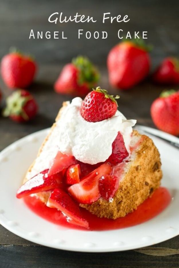 Gluten Free Desserts - Gluten Free Angel Food Cake - Easy Recipes and Healthy Recipe Ideas for Cookies, Cake, Pie, Cupcakes, Cheesecake and Ice Cream - Best No Sugar Glutenfree Chocolate, No Bake Dessert, Fruit, Peach, Apple and Banana Dishes - Flourless Christmas, Thanksgiving and Holiday Dishes #glutenfree #desserts #recipes