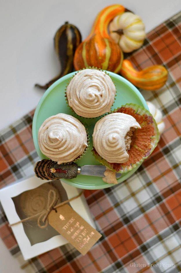 Gluten Free Desserts - Gluten-Free Apple Cider Cupcakes - Easy Recipes and Healthy Recipe Ideas for Cookies, Cake, Pie, Cupcakes, Cheesecake and Ice Cream - Best No Sugar Glutenfree Chocolate, No Bake Dessert, Fruit, Peach, Apple and Banana Dishes - Flourless Christmas, Thanksgiving and Holiday Dishes http://diyjoy.com/gluten-free-desserts