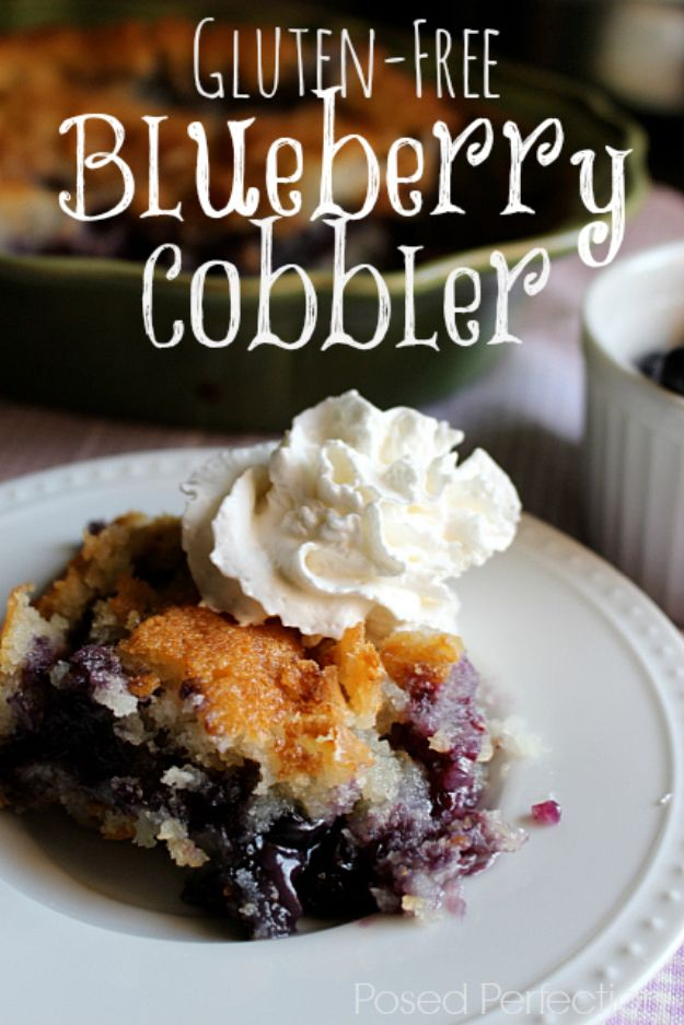 Gluten Free Desserts - Gluten-Free Blueberry Cobbler - Easy Recipes and Healthy Recipe Ideas for Cookies, Cake, Pie, Cupcakes, Cheesecake and Ice Cream - Best No Sugar Glutenfree Chocolate, No Bake Dessert, Fruit, Peach, Apple and Banana Dishes - Flourless Christmas, Thanksgiving and Holiday Dishes http://diyjoy.com/gluten-free-desserts