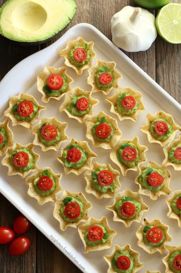 Gluten Free Appetizers - Gluten-Free Chip And Guacamole Bites - Easy Flourless and Glutenfree Snacks, Wraps, Finger Foods and Snack Recipes - Recipe Ideas for Gluten Free Diets - Spinach and Cheese Dips, Vegetable Spreads, Sushi rolls, Quick Grill Foods, Party Trays, Dessert Bites, Healthy Veggie and Fruit Appetizer Tutorials #glutenfree #appetizers #appetizerrecipes #glutenfreerecipes #recipeideas #diyjoy http://diyjoy.com/gluten-free-appetizers
