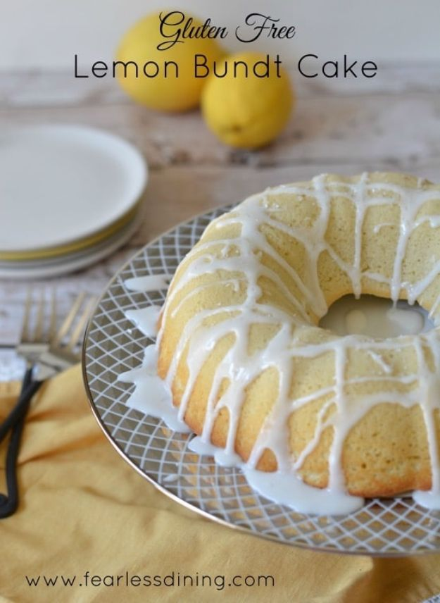 Gluten Free Desserts - Gluten Free Lemon Bundt Cake - Easy Recipes and Healthy Recipe Ideas for Cookies, Cake, Pie, Cupcakes, Cheesecake and Ice Cream - Best No Sugar Glutenfree Chocolate, No Bake Dessert, Fruit, Peach, Apple and Banana Dishes - Flourless Christmas, Thanksgiving and Holiday Dishes http://diyjoy.com/gluten-free-desserts