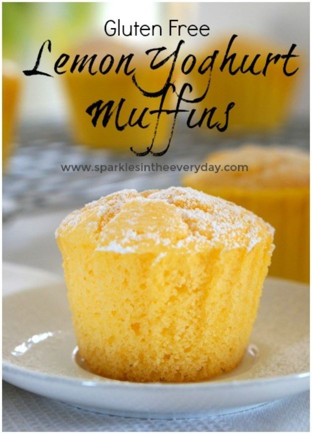 Gluten Free Desserts - Gluten Free Lemon Yoghurt Muffins - Easy Recipes and Healthy Recipe Ideas for Cookies, Cake, Pie, Cupcakes, Cheesecake and Ice Cream - Best No Sugar Glutenfree Chocolate, No Bake Dessert, Fruit, Peach, Apple and Banana Dishes - Flourless Christmas, Thanksgiving and Holiday Dishes http://diyjoy.com/gluten-free-desserts