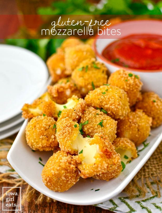 Gluten Free Appetizers - Gluten-Free Mozzarella Bites - Easy Flourless and Glutenfree Snacks, Wraps, Finger Foods and Snack Recipes - Recipe Ideas for Gluten Free Diets - Spinach and Cheese Dips, Vegetable Spreads, Sushi rolls, Quick Grill Foods, Party Trays, Dessert Bites, Healthy Veggie and Fruit Appetizer Tutorials #glutenfree #appetizers #appetizerrecipes #glutenfreerecipes #recipeideas #diyjoy http://diyjoy.com/gluten-free-appetizers