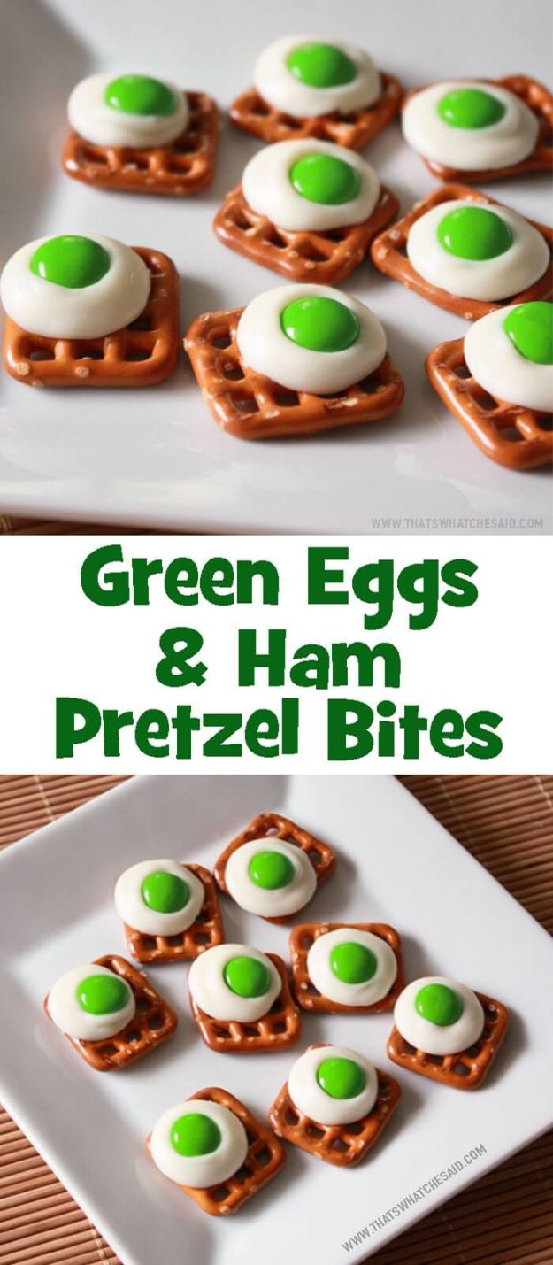 Best Recipes To Teach Your Kids To Cook - Green Eggs And Ham Pretzel Bites - Easy Ideas To Show Children How to Prepare Food - Kid Friendly Recipes That Boys and Girls Can Make Themselves - No Bake, 5 Minute Foods, Healthy Snacks, Salads, Dips, Roll Ups, Vegetables and Simple Desserts - Recipes To Learn How To Make Fun Food http://diyjoy.com/best-recipes-teach-kids-to-cook