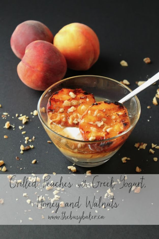Low Sugar Dessert Recipes - Grilled Peaches With Greek Yogurt, Honey And Walnuts - Healthy Desserts and Ideas for Healthy Sweets Without Much Sugar - Raw Foods and Easy Clean Eating Dessert Tips, Keto Diet Snacks - Chocolate, Gluten Free, Cakes, Fruit Dips, No Bake, Stevia and Sweetener Options - Diabetic Diets and Diabetes Recipe Ideas for Desserts #recipes #recipeideas #lowsugar #nosugar #lowcalorie #diyjoy #dessertrecipes #lowsugar #dietrecipes