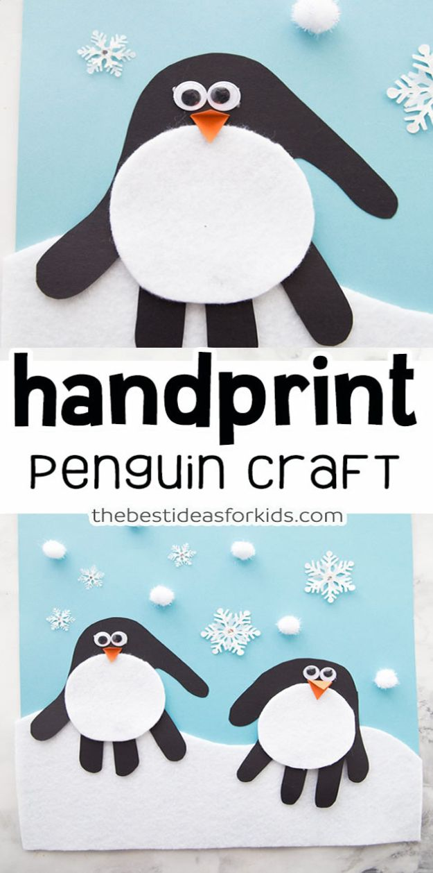 Crafts for Boys - Handprint Penguin Craft - Cute Crafts for Young Boys, Toddlers and School Children - Fun Paints to Make, Arts and Craft Ideas, Wall Art Projects, Colorful Alphabet and Glue Crafts, String Art, Painting Lessons, Cheap Project Tutorials and Inexpensive Things for Kids to Make at Home - Cute Room Decor and DIY Gifts to Make for Mom and Dad #diyideas #kidscrafts #craftsforboys