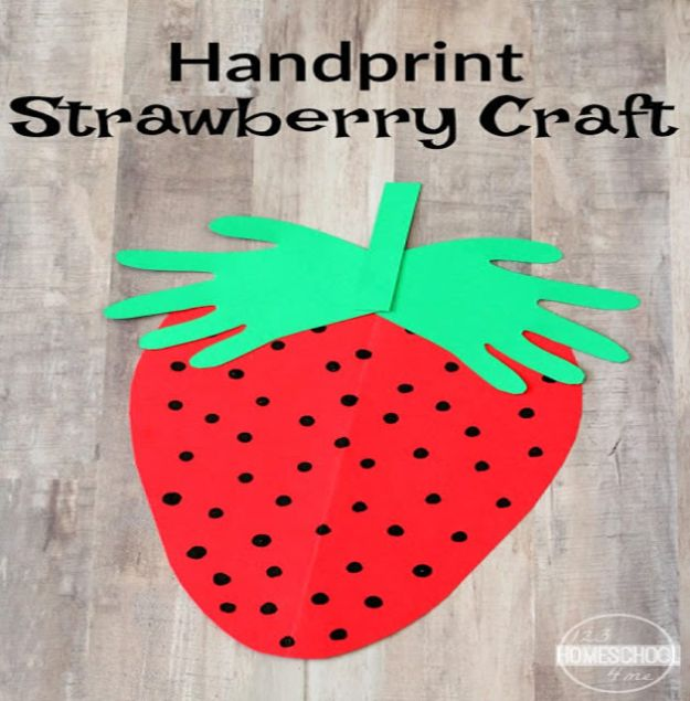 Crafts for Girls - Handprint Strawberry Craft - Cute Crafts for Young Girls, Toddlers and School Children - Fun Paints to Make, Arts and Craft Ideas, Wall Art Projects, Colorful Alphabet and Glue Crafts, String Art, Painting Lessons, Cheap Project Tutorials and Inexpensive Things for Kids to Make at Home - Cute Room Decor and DIY Gifts #girlsgifts #girlscrafts #craftideas #girls