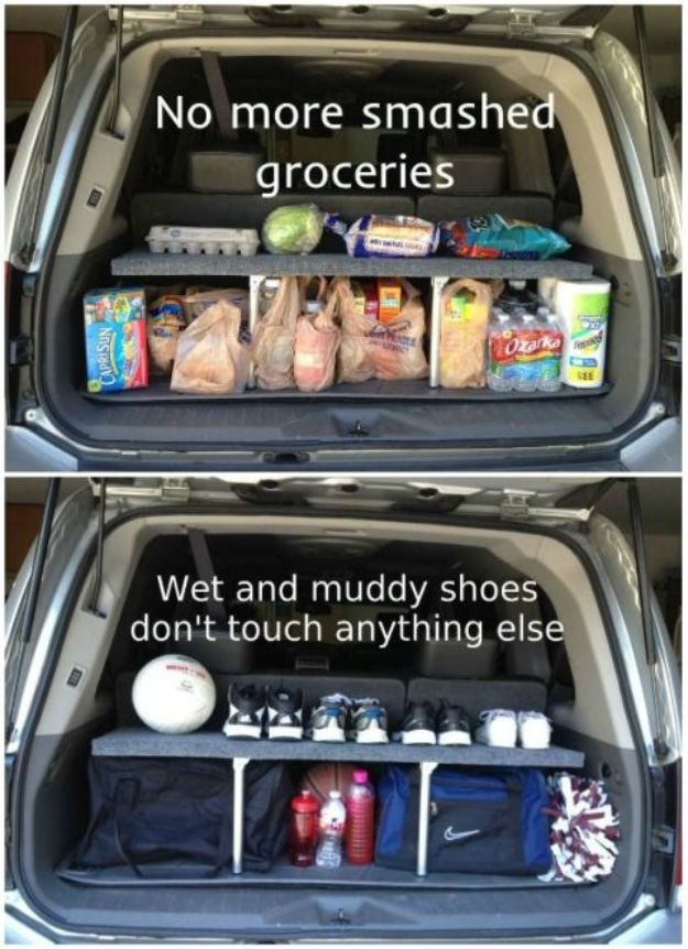 Car Organization Ideas - Handy Pop Up Trunk Shelf - DIY Tips and Tricks for Organizing Cars - Dollar Store Storage Projects for Mom, Kids and Teens - Keep Your Car, Truck or SUV Clean On A Road Trip With These solutions for interiors and Trunk, Front Seat - Do It Yourself Caddy and Easy, Cool Lifehacks #car #diycar #organizingideas