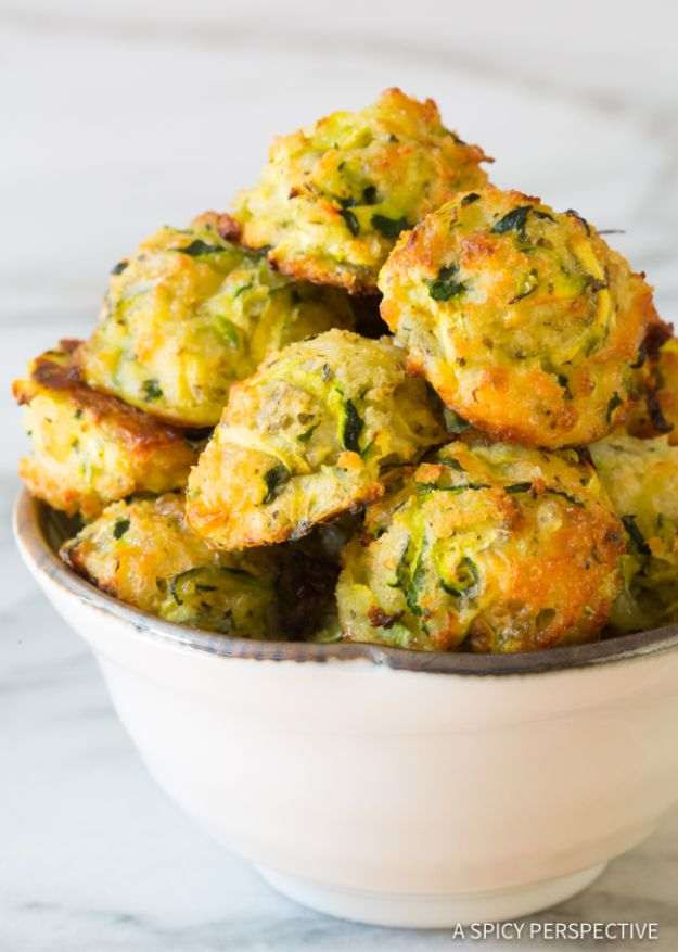 Gluten Free Appetizers - Healthy Baked Zucchini Tots - Easy Flourless and Glutenfree Snacks, Wraps, Finger Foods and Snack Recipes - Recipe Ideas for Gluten Free Diets - Spinach and Cheese Dips, Vegetable Spreads, Sushi rolls, Quick Grill Foods, Party Trays, Dessert Bites, Healthy Veggie and Fruit Appetizer Tutorials #glutenfree #appetizers #appetizerrecipes #glutenfreerecipes #recipeideas #diyjoy http://diyjoy.com/gluten-free-appetizers