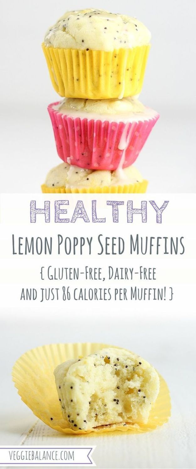 Low Sugar Dessert Recipes - Healthy Lemon Poppy Seed Muffins - Healthy Desserts and Ideas for Healthy Sweets Without Much Sugar - Raw Foods and Easy Clean Eating Dessert Tips, Keto Diet Snacks - Chocolate, Gluten Free, Cakes, Fruit Dips, No Bake, Stevia and Sweetener Options - Diabetic Diets and Diabetes Recipe Ideas for Desserts #recipes #recipeideas #lowsugar #nosugar #lowcalorie #diyjoy #dessertrecipes #lowsugar #dietrecipes
