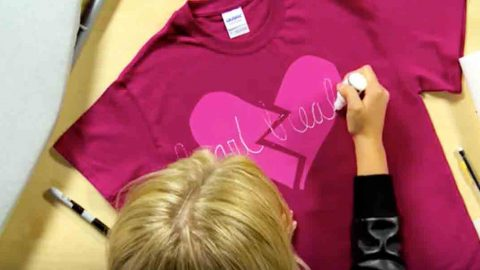 She Easily Decorates This T-Shirt For A Fun Item To Wear On Heart Day Or Any Time! | DIY Joy Projects and Crafts Ideas