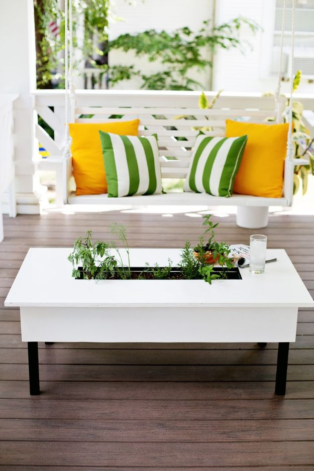 DIY Coffee Tables - Herb Garden Coffee Table - Easy Do It Yourself Furniture Ideas for The Living Room Table - Cool Projects for Making a Coffee Table With Crates, Boxes, Stone, Industrial Pipe, Tile, Pallets, Old Doors, Windows and Repurposed Wood Planks - Rustic Farmhouse Home Decor, Modern Decorating Ideas, Simply Shabby Chic and All White Looks for Minimalist Interiors http://diyjoy.com/diy-coffee-table-ideas