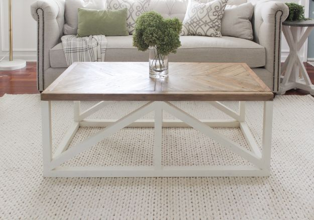 DIY Coffee Tables - Herringbone Coffee Table - Easy Do It Yourself Furniture Ideas for The Living Room Table - Cool Projects for Making a Coffee Table With Crates, Boxes, Stone, Industrial Pipe, Tile, Pallets, Old Doors, Windows and Repurposed Wood Planks - Rustic Farmhouse Home Decor, Modern Decorating Ideas, Simply Shabby Chic and All White Looks for Minimalist Interiors http://diyjoy.com/diy-coffee-table-ideas