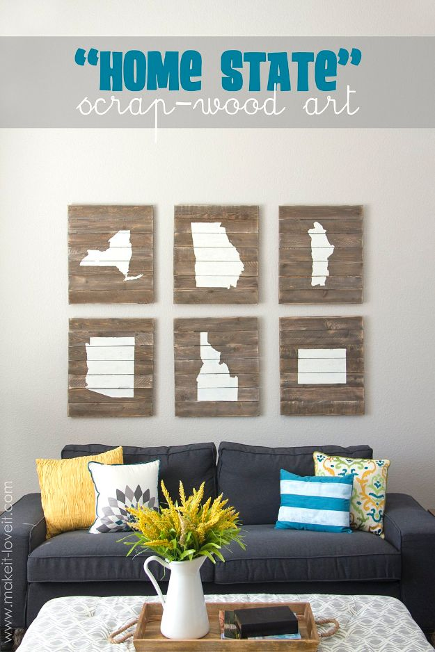 Cool State Crafts - Home State Scrap Wood Art - Easy Craft Projects To Show Your Love For Your Home State - Best DIY Ideas Using Maps, String Art Shaped Like States, Quotes, Sayings and Wall Art Ideas, Painted Canvases, Cute Pillows, Fun Gifts and DIY Decor Made Simple - Creative Decorating Ideas for Living Room, Kitchen, Bedroom, Bath and Porch http://diyjoy.com/cool-state-crafts