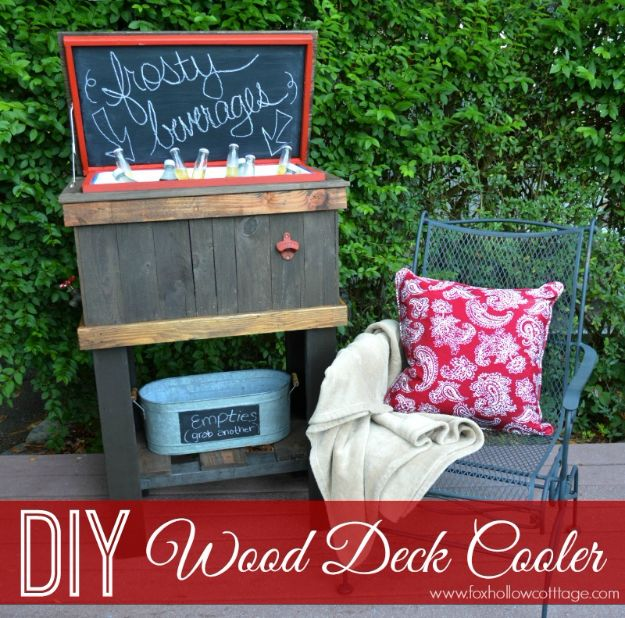 DIY Patio Furniture Ideas - How To Build A Wood Deck Cooler - Cheap Do It Yourself Porch and Easy Backyard Furniture, Rocking Chairs, Swings, Benches, Stools and Seating Tutorials - Dining Tables from Pallets, Cinder Blocks and Upcyle Ideas - Sectional Couch Plans With Cushions - Makeover Tips for Existing Furniture #diyideas #outdoors #diy #backyardideas #diyfurniture #patio #diyjoy http://diyjoy.com/diy-patio-furniture-ideas