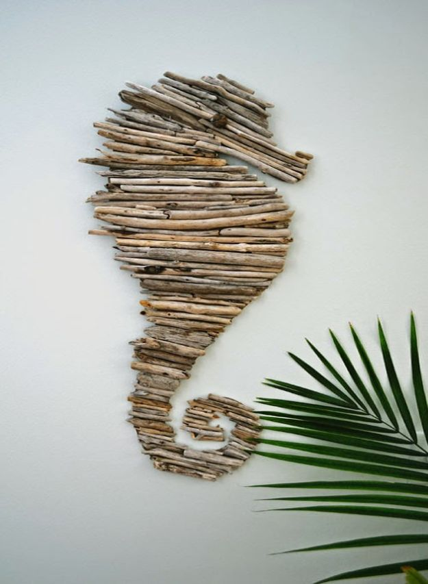 DIY Beach House Decor - Make A Driftwood Seahorse - Cool DIY Decor Ideas While On A Budget - Cool Ideas for Decorating Your Beach Home With Shells, Sand and Summer Wall Art - Crafts and Do It Yourself Projects With A Breezy, Blue, Summery Feel - White Decor and Shiplap, Birchwood Boats, Beachy Sea Glass Art Projects for Living Room, Bedroom and Kitchen http://diyjoy.com/diy-beach-house-decor