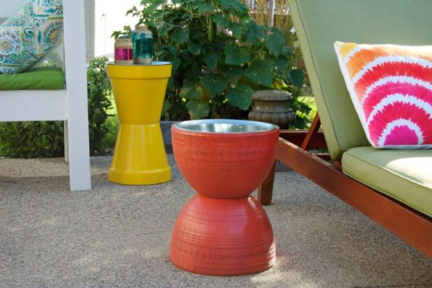 DIY Patio Furniture Ideas - How To Make A Flower Pot Table - Cheap Do It Yourself Porch and Easy Backyard Furniture, Rocking Chairs, Swings, Benches, Stools and Seating Tutorials - Dining Tables from Pallets, Cinder Blocks and Upcyle Ideas - Sectional Couch Plans With Cushions - Makeover Tips for Existing Furniture #diyideas #outdoors #diy #backyardideas #diyfurniture #patio #diyjoy http://diyjoy.com/diy-patio-furniture-ideas