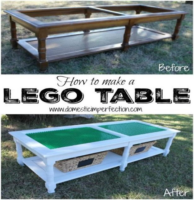 DIY Patio Furniture Ideas - How To Make A Lego Table - Cheap Do It Yourself Porch and Easy Backyard Furniture, Rocking Chairs, Swings, Benches, Stools and Seating Tutorials - Dining Tables from Pallets, Cinder Blocks and Upcyle Ideas - Sectional Couch Plans With Cushions - Makeover Tips for Existing Furniture #diyideas #outdoors #diy #backyardideas #diyfurniture #patio #diyjoy http://diyjoy.com/diy-patio-furniture-ideas
