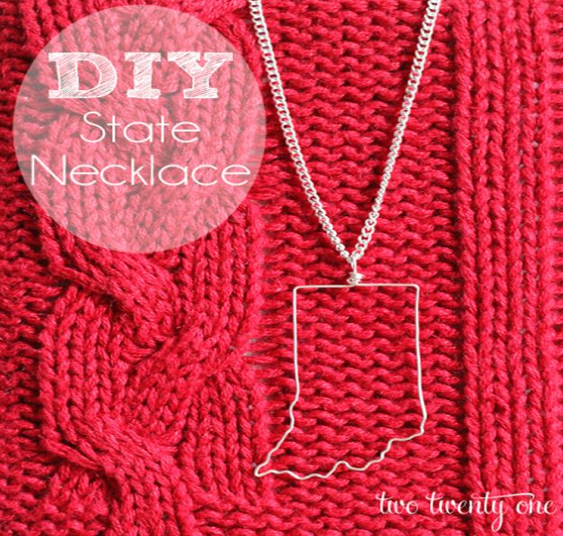 Cool State Crafts - How To Make A State Necklace - Easy Craft Projects To Show Your Love For Your Home State - Best DIY Ideas Using Maps, String Art Shaped Like States, Quotes, Sayings and Wall Art Ideas, Painted Canvases, Cute Pillows, Fun Gifts and DIY Decor Made Simple - Creative Decorating Ideas for Living Room, Kitchen, Bedroom, Bath and Porch http://diyjoy.com/cool-state-crafts