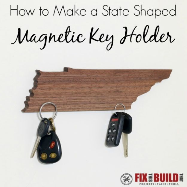 Cool State Crafts - How To Make A State Shaped Magnetic Key Holder - Easy Craft Projects To Show Your Love For Your Home State - Best DIY Ideas Using Maps, String Art Shaped Like States, Quotes, Sayings and Wall Art Ideas, Painted Canvases, Cute Pillows, Fun Gifts and DIY Decor Made Simple - Creative Decorating Ideas for Living Room, Kitchen, Bedroom, Bath and Porch http://diyjoy.com/cool-state-crafts