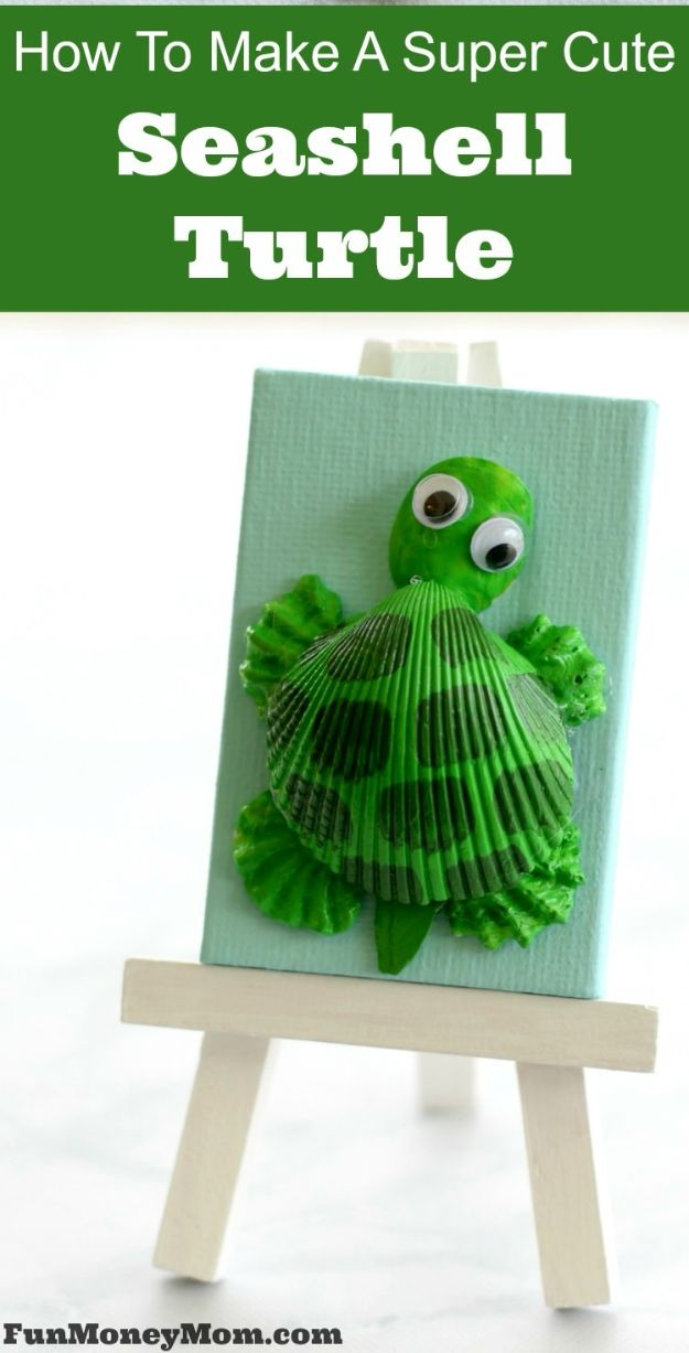 Crafts for Boys - How To Make A Super Cute Seashell Turtle - Cute Crafts for Young Boys, Toddlers and School Children - Fun Paints to Make, Arts and Craft Ideas, Wall Art Projects, Colorful Alphabet and Glue Crafts, String Art, Painting Lessons, Cheap Project Tutorials and Inexpensive Things for Kids to Make at Home - Cute Room Decor and DIY Gifts to Make for Mom and Dad http://diyjoy.com/crafts-for-boys