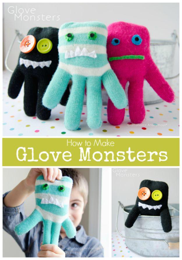 Crafts for Boys - How To Make Glove Monsters Tutorial - Cute Crafts for Young Boys, Toddlers and School Children - Fun Paints to Make, Arts and Craft Ideas, Projets d'art mural, alphabet coloré et bricolage à la colle, art à la corde, leçons de peinture, tutoriels de projets bon marché et choses peu coûteuses à faire à la maison pour les enfants - Décoration de chambre mignonne et cadeaux DIY à faire pour maman et papa #diyideas #kidscrafts #craftsforboys