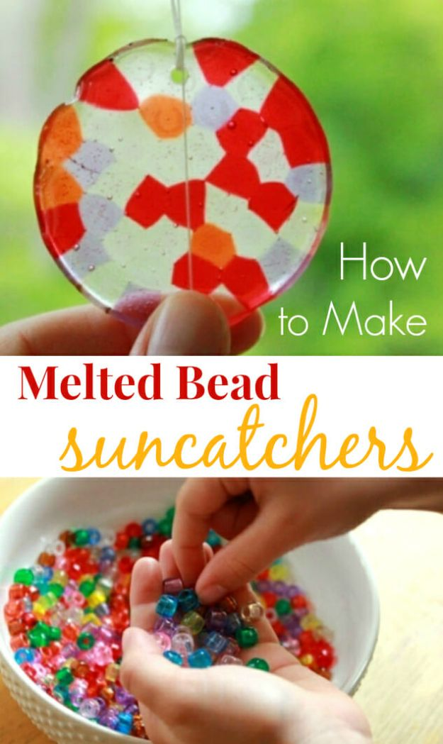 Crafts for Girls - How To Make Melted Bead Suncatchers - Cute Crafts for Young Girls, Toddlers and School Children - Fun Paints to Make, Arts and Craft Ideas, Wall Art Projects, Colorful Alphabet and Glue Crafts, String Art, Painting Lessons, Cheap Project Tutorials and Inexpensive Things for Kids to Make at Home - Cute Room Decor and DIY Gifts to Make for Mom and Dad http://diyjoy.com/crafts-for-girls